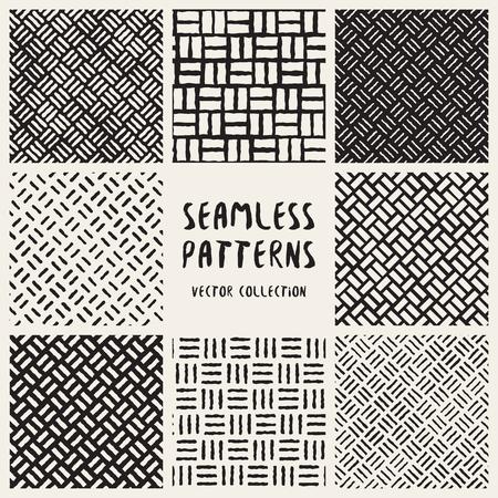 Set van acht naadloze zwart-wit Handgetekende diagonale lijnen geometrische patronen collectie. Abstract Freehand-achtergrondontwerp