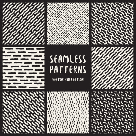 artistic background: Set of Eight Seamless Black and White Hand Drawn Geometric Patterns Collection. Abstract Freehand Artistic Background Design Illustration