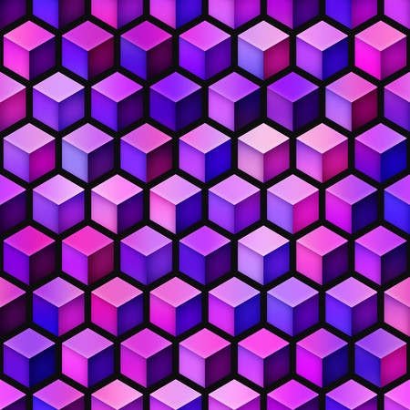 Gradient Cubes Tiling. Seamless Multicolor Pattern