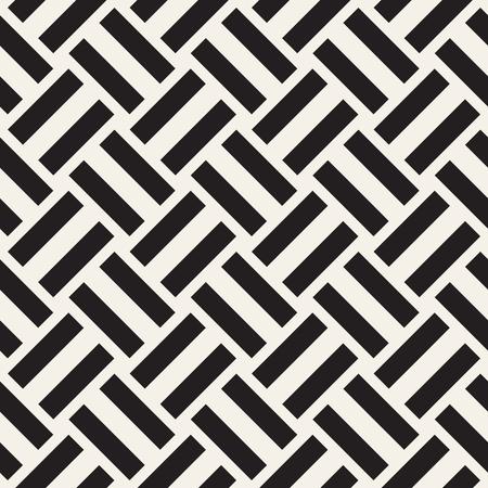 Repeating Geometric Stripes Tiling. Vector Seamless Monochrome Pattern. Illustration