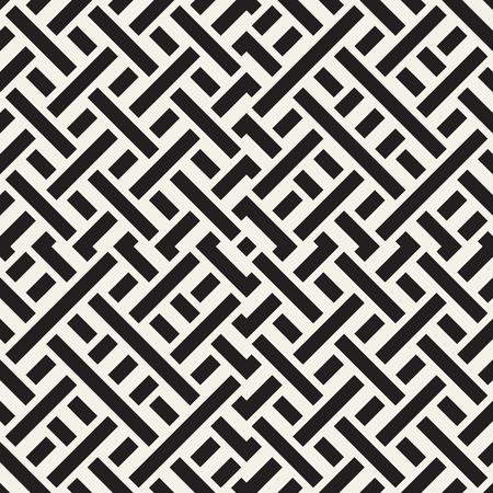 Interlacing Lines Maze Lattice. Ethnic Monochrome Texture.