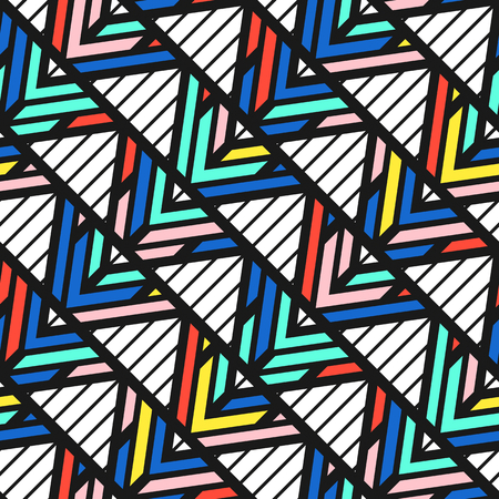 90s: Colorful bright seamless pattern