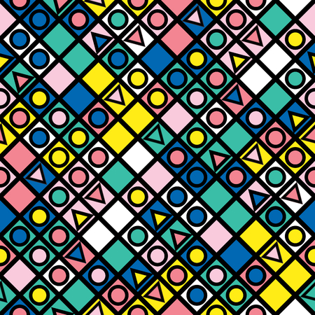 eighties: Colorful bold bright seamless pattern Stock Photo