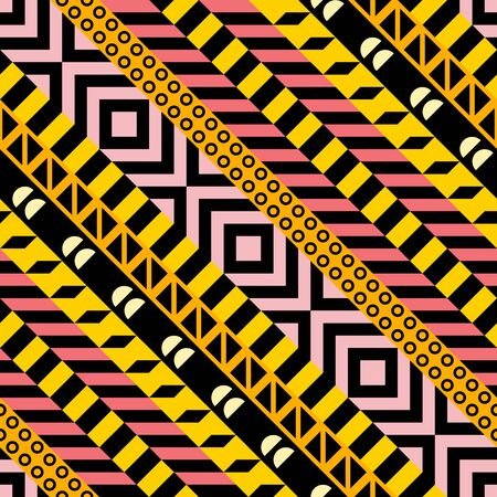 Retro color tribal seamless pattern. Fancy abstract geometric art print. Ethnic hipster ornamental lines backdrop. Stock Photo