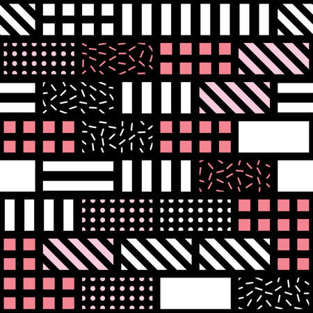 Decorative geometric shapes tiling. Monochrome trendy irregular pattern.  Abstract  background. Artistic decorative ornamental lattice