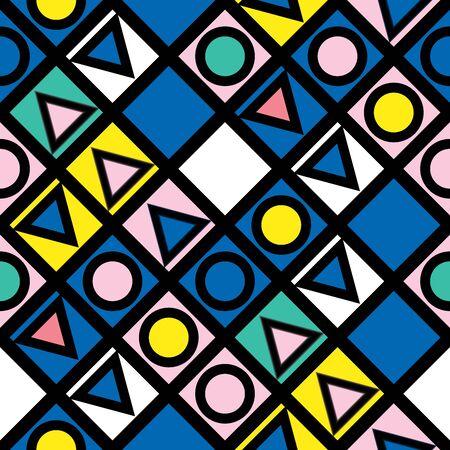 Decorative geometric shapes tiling. Multicolor trendy irregular pattern.  Abstract colorful background. Artistic decorative ornamental lattice