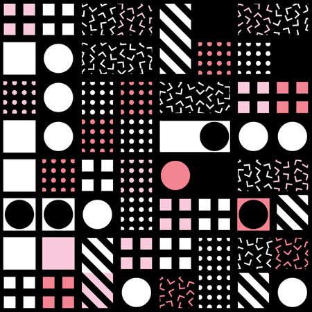 Decorative geometric shapes tiling. Monochrome trendy irregular pattern.  Abstract  background. Artistic decorative ornamental lattice