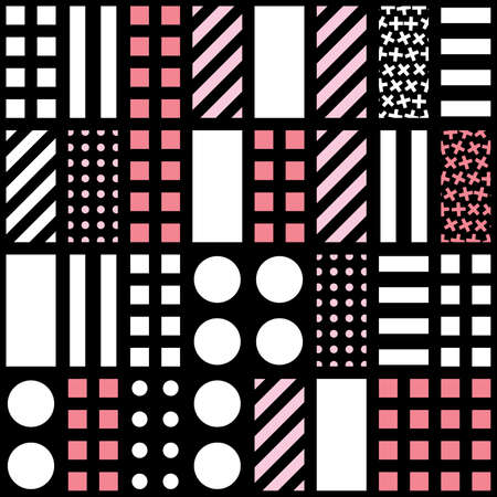 pattern: Decorative geometric shapes tiling. Monochrome trendy irregular pattern.  Abstract  background. Artistic decorative ornamental lattice