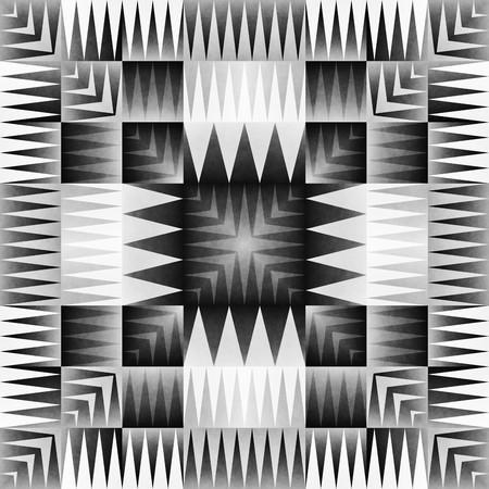 oriental rug: Ethnic Tribal Aztec Seamless Pattern. Geometric Ornamental illustration. Black and White Stylish Texture