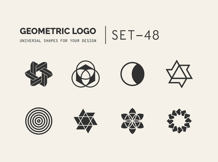business card template: Set of universal minimal geometric logo. Simple vector sign will give a recognizable accent to your startup Illustration