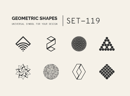 Set of universal minimal geometric logo. Simple vector sign will give a recognizable accent to your startup Stock Vector - 87212414