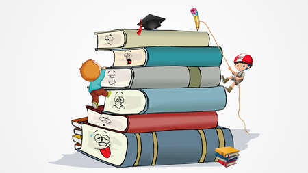 Stack of Books having different emoji on it showing different emotions. One child climbing the stack using rope attached with pencil at its pick. Other child climbing the stack from rear back.