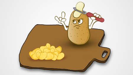 1つの漫画のジャガイモは、独自の頭をスライスし、他のスライスポテトチップスを見て、すべてが茶色のプレートのような1つの正方形に設定されて 写真素材