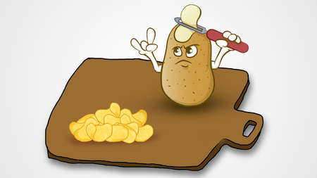 one cartoon potato is slicing its own head and looking at other sliced potato chips, all is set on one square like brown plate Stock fotó - 94005922