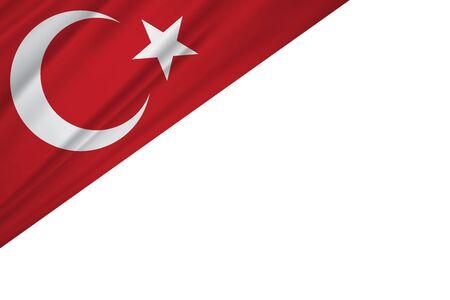 Turkey flag of silk and white background 向量圖像