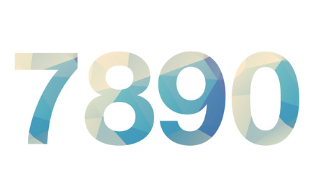 bold: Polygonal isolated bold gradient numbers on white