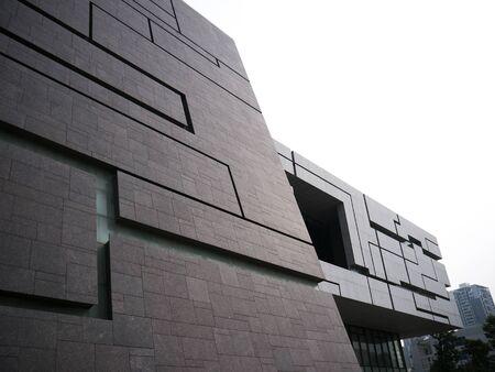 concrete commercial block: Modern hi tech office edgy building exterior