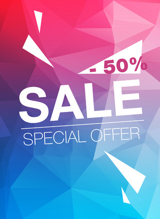 cian: Super Sale Special Offer web banner template on  blue and red  background