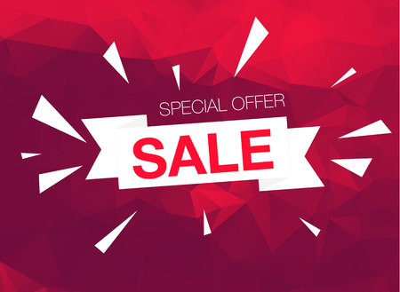 business  deal: Super Sale Special Offer web banner template on red background