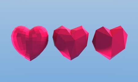 amore: 3d illustration. Polygonal hearts on blue background.