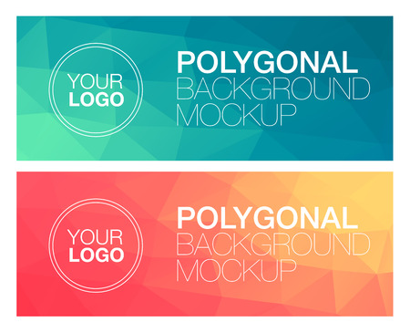 green banner: Horizontal colorful vibrant modern polygonal banner mock ups
