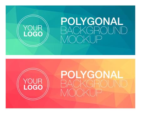 spruchband: Horizontale bunte vibrierende moderne polygonal Banner mock ups