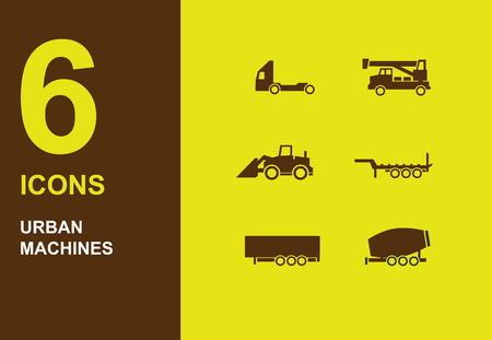 silhuette: Urban machines dark vector silhuette icons on yellow Illustration