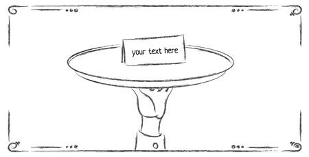elegant white: Butler or waiter holding a card reading special invitation on a silver platter Illustration
