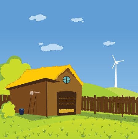 toon: Colorful cute toon illustration of rural farm