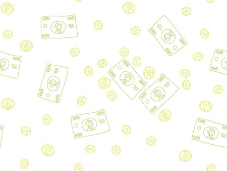 us paper currency: Doodle colorful money elements pattern  on white Illustration
