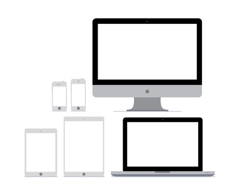 netbook: Six flat vector gadget mockups on white background Illustration