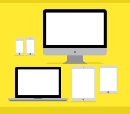 netbook: Six flat vector apple technics mockups on yellow Illustration