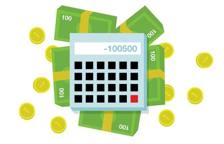 one us dollar coin: Flat money and calculator illustration on white