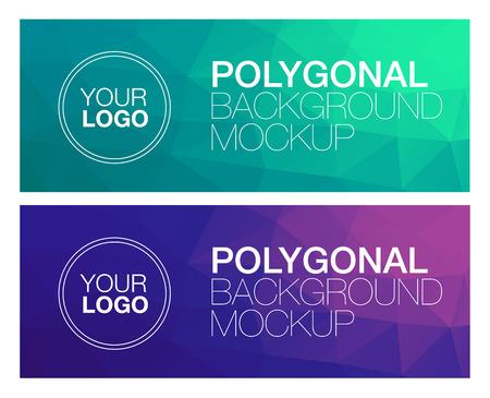 cian: Horizontal colorful vibrant modern polygonal banner mock ups