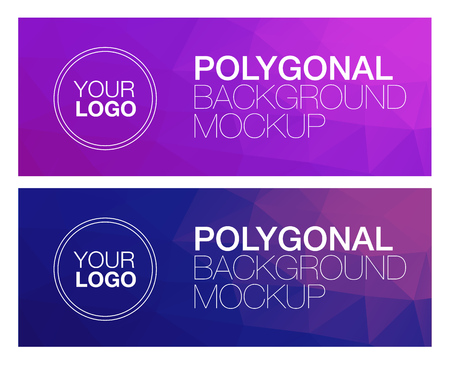 diamond shape: Horizontal colorful vibrant modern polygonal banner mock ups