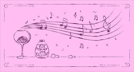 aroma: Perfumery aroma melody drawing line art on pink background Stock Photo