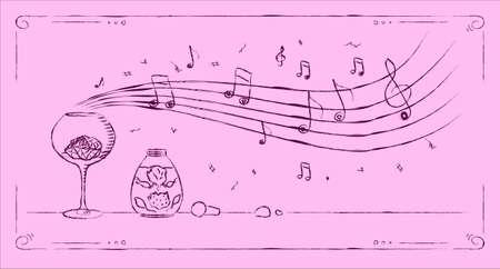 perfumery: Perfumery aroma melody drawing line art on pink background Stock Photo