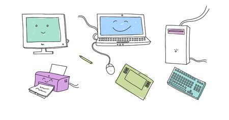 electronical: Doodle colored electronical devices on white Stock Photo