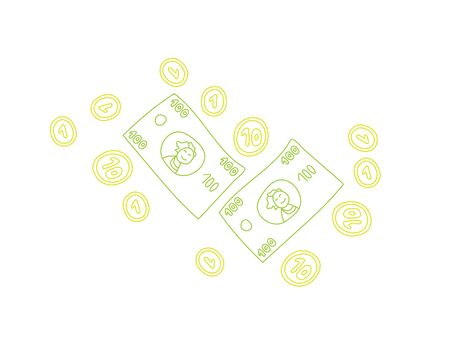 one us dollar coin: Doodle colorful line art financial elements on white