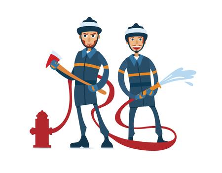manful: Two cartoon manful firefighters on white Stock Photo