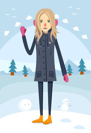 montañas caricatura: Hermosa niña de pie en ropa de abrigo sobre fondo azul