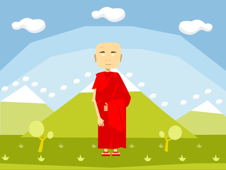 Calm buddhist monk in red on the nature Stock Photo