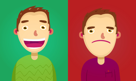 brown haired: Attractive brown haired young man on two different face expressions collection Stock Photo