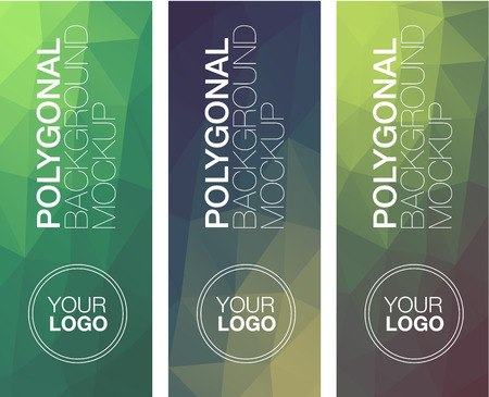 green banner: Colorful vertical polygonal banners with on white
