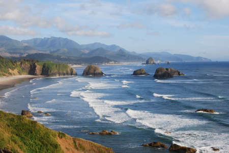 Cannon Beach with Haystack Rock in the Distance Stock Photo - 2638732