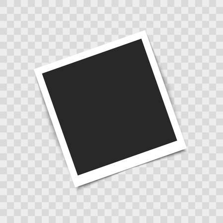 Marco de fotos vacío realista sobre fondo transparente. Ilustración vectorial para su diseño