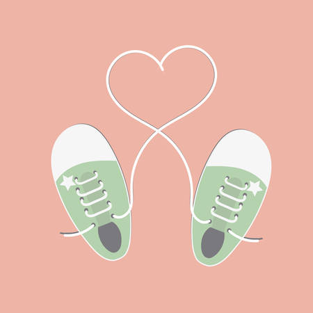 Sneakers with rope in form heart. Vector Illustration