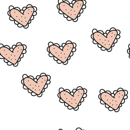Seamless pattern with hearts and elements. Vector.