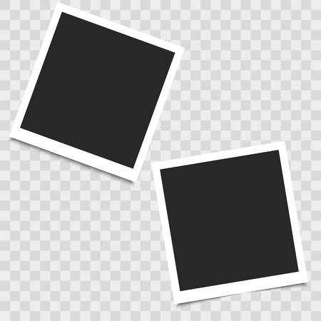 Realistic empty photo frame on transparent background. Vector illustration for your design. Векторная Иллюстрация