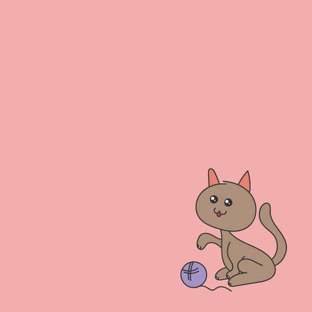 The cat playing with the ball. Vector